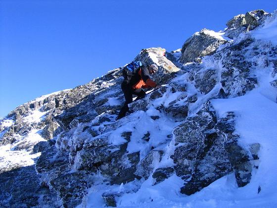 Foto: Andreas Koller / Wander Tour / Aus dem Weißpriachtal auf Gurpitscheck und Gollitschspitze (2526 m) / Schwierige, da vereiste Stelle / 06.05.2007 15:39:38