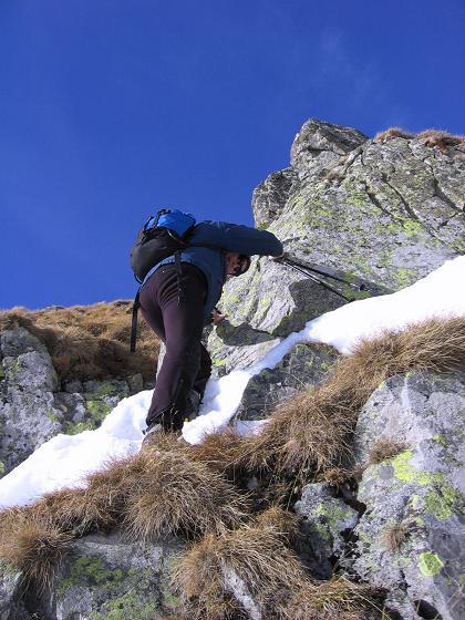 Foto: Andreas Koller / Wander Tour / Drei Gipfel über dem steirischen Bärntal (2386 m) / Schlüsselstelle im W-Grat / 06.05.2007 14:55:53