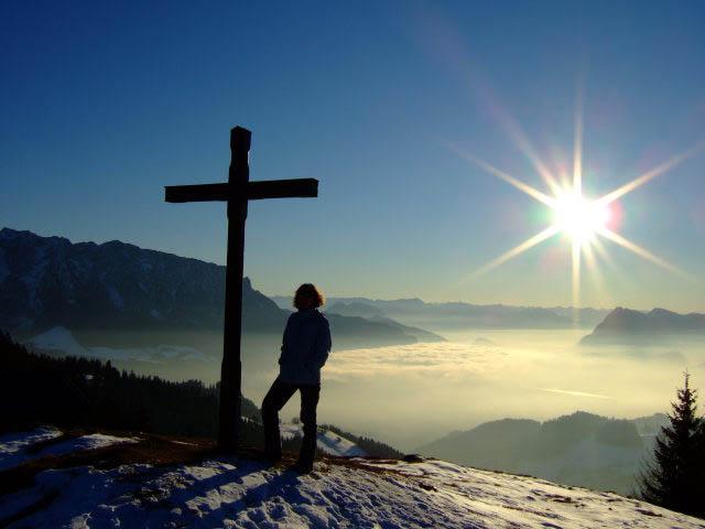 Foto: Johanna Kagerer / Wandertour / Von Wildbichl auf die Karspitze / Gipfelbild von der Karspitze mit Inntal und Kaisergebirge / 04.01.2007 14:57:06