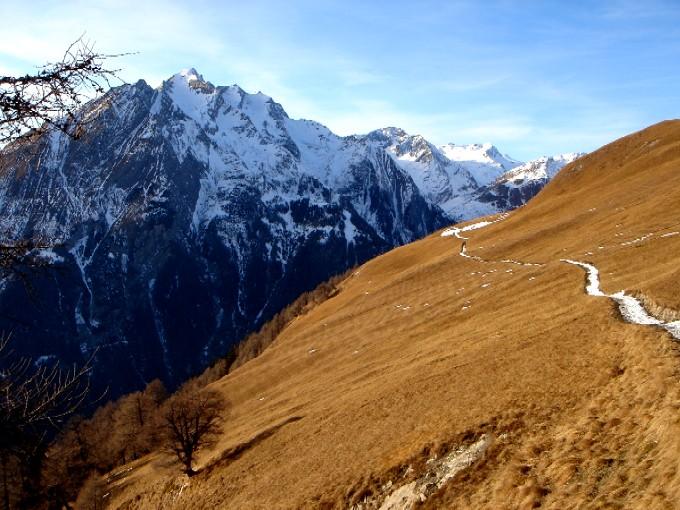 Foto: Manfred Karl / Wandertour / Bretterwandspitze / Rückblick auf den Verbindungsweg Steineralm - Lackneralm / 21.01.2007 06:33:48