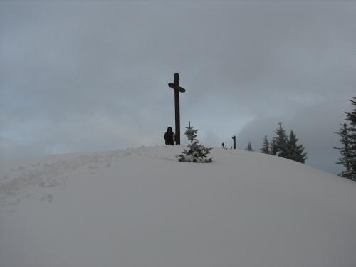 Foto: Christian Suschegg / Schneeschuh Tour / Mit Schneeschuhen auf die Hohe Trett (1681m) / Das hohe Gipfelkreuz mit Gipfelbuch ist in so mancher Karte noch gar nicht verzeichnet. / 08.01.2007 10:32:40