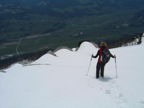 Foto: Christian Suschegg / Schneeschuh Tour / Sagenumwobenes Grimmingtor / Unten im Tal ist der Frühling eingezogen. Die Felder leuchten tiefgrün herauf. Im Bereich des Grimmingtors liegen aber noch einige Meter Schnee. / 08.01.2007 13:22:50