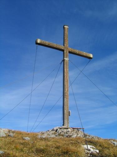 Foto: Christian Suschegg / Wander Tour / Ahornsee - Grafenbergalm - Kufstein (2049m) / Das große Gipfelkreuz am Kufstein. / 21.01.2007 17:59:15