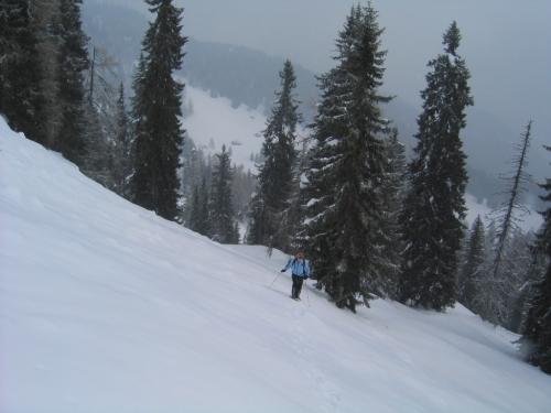 Foto: Christian Suschegg / Schneeschuhtour / Storingalm - Feldl / Der Aufstieg über die steile Südflanke erfordert sichere, stabile Schneeverhältnisse. Im Hintergrund erkennt man die Hütten der Storingalm. / 21.01.2007 12:28:45