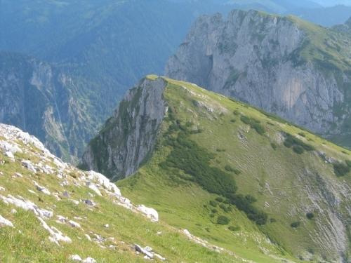 Foto: Christian Suschegg / Wander Tour / Über den Scharfen Steig und die Laufener Hütte auf Tagweide und Hochkarfelderkopf / Abstieg vom Hochkarfelderkopf zur Scharte, durch die nach links der