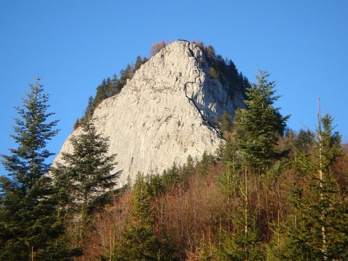 Foto: Manfred Karl / Kletter Tour / Südostgrat am Sommeraustein III / Eingezeichnet ist der Routenverlauf über den Südostgrat auf den Sommeraustein. / 03.02.2007 10:25:02
