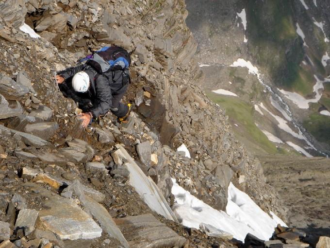 Foto: Manfred Karl / Kletter Tour / Schareck, Linke Nordwandrinne / Brüchiger, jedoch leichter Fels im Ausstiegsbereich der Rinne. / 06.02.2007 08:41:25