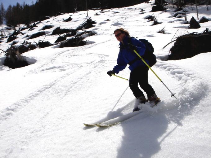 Foto: Manfred Karl / Ski Tour / Scheibleck (2117m) / Hohe Schneelage ist für die teilweise  mit Windwürfen bedeckten Hänge unterhalb der Pleschnitzalm angenehm. / 07.02.2007 08:45:03