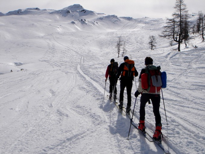 Foto: Manfred Karl / Skitour / Marchkareck (2661m) / Im unteren Teil des weitläufigen Kreekares. Fast immer kann man noch Platz für das eigene Spurvergnügen finden. Der Gipfel im Hintergrund ist das Schöderhorn. / 08.02.2007 20:51:13