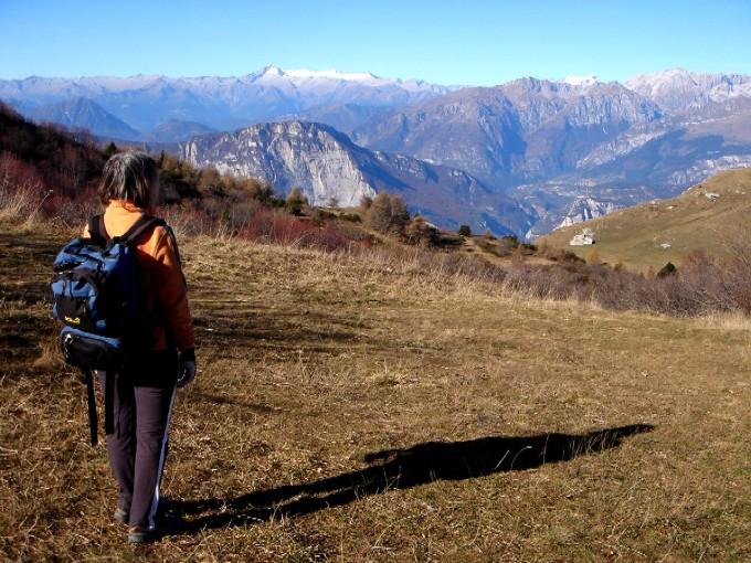 Foto: Manfred Karl / Wandertour / Tre Cime del Bondone / Auf dem Rücken Costa dei Cavei beim Aufstieg zum Cornetto. Blick gegen Adamello - Presanella, links etwa im Mittelgrund der Monte Casale. / 10.02.2007 10:55:34