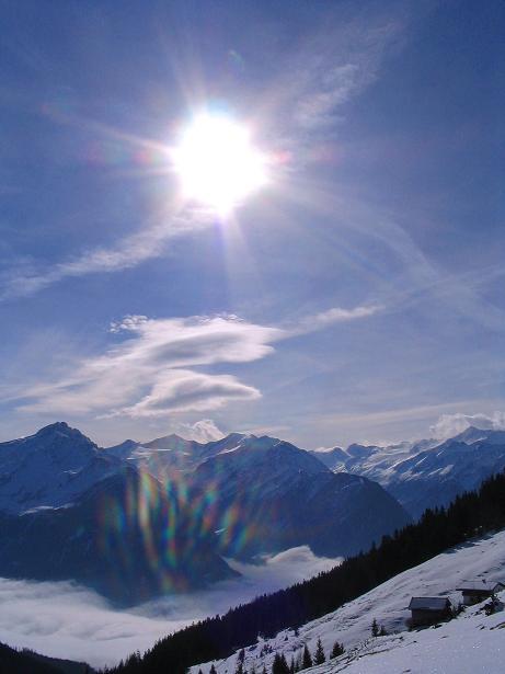 Foto: Andreas Koller / Schneeschuh Tour / Durch das Dürnbachtal auf den Rossberg (2185 m) / Der Blick nach S in die Venedigergruppe / 12.02.2007 03:31:59