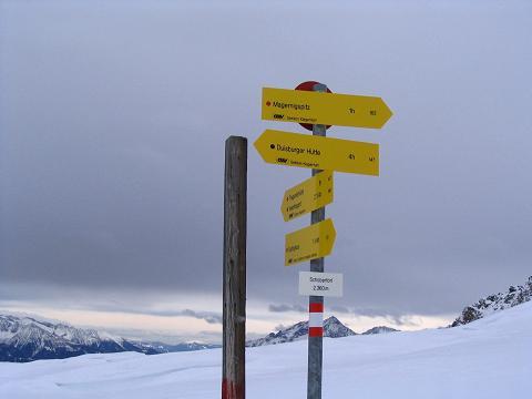Foto: Andreas Koller / Ski Tour / Vom Sadnighaus auf die Melenwand (2570 m) / Wegweiser am Schobertörl / 12.02.2007 13:54:26