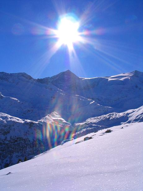 Foto: Andreas Koller / Ski Tour / Innergschlöss und Zeigerpalfen (2506 m) / Strahlender Sonnenschein über der Venedigergruppe / 12.02.2007 19:31:15