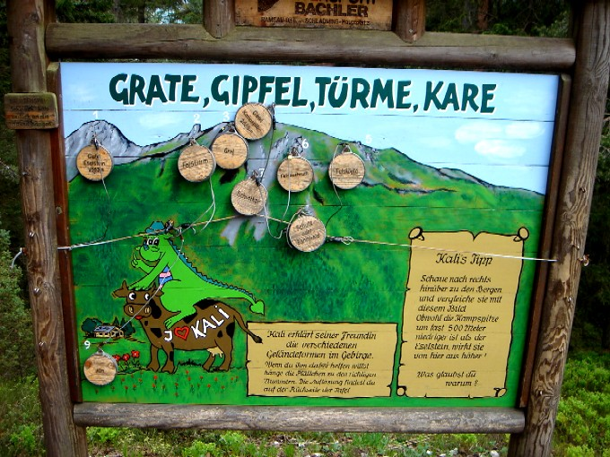 Foto: Manfred Karl / Klettersteig Tour / Kali-Steig über den Gämsenturm / Viele Schautafeln und Spiele laden zum Verweilen ein. / 13.02.2007 21:42:26