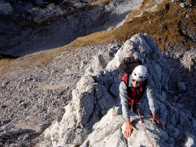 Foto: Manfred Karl / Kletter Tour / Südwestgrat auf den Hundstod IV- / Im unteren Teil wartet der Südwestgrat mit schöner Kletterei in leichtem Fels auf. / 15.02.2007 22:41:32