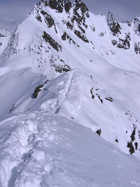 Foto: Andreas Koller / Ski Tour / Durch das stille Kaiserbergtal auf die Platzerspitze (3098m) / Der schmale Grat auf die Platzerspitze / 06.04.2007 19:38:27