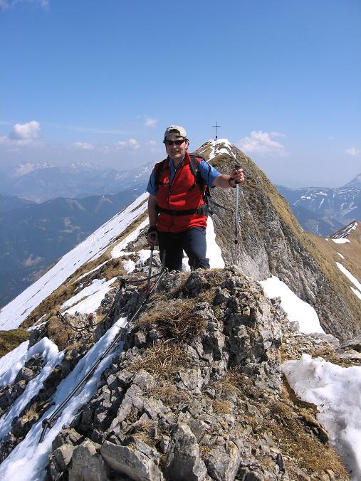 Foto: Andreas Koller / Wander Tour / Zeiritzkampel aus der Kurzen Teichen (2126 m) / Schlüsselstelle im W-Grat / 22.04.2007 14:27:15