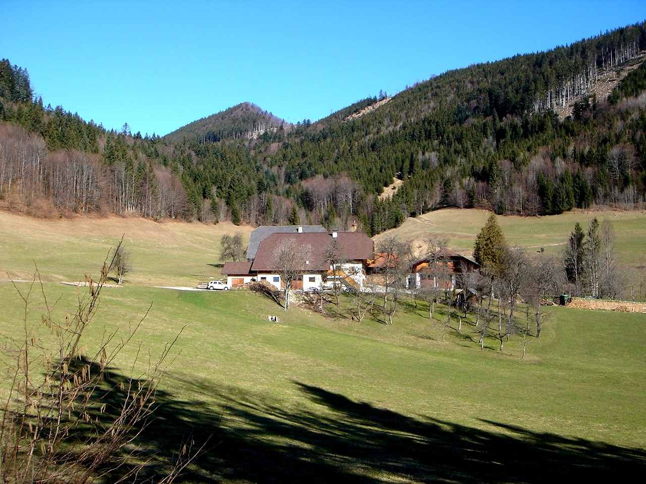 Foto: Manfred Karl / Wander Tour / Aus der Tiefbrunnau auf den Filbling / Vom Ausgangspunkt hat man einen schönen Blick auf das Gehöft Pillstein. / 25.04.2007 23:15:58