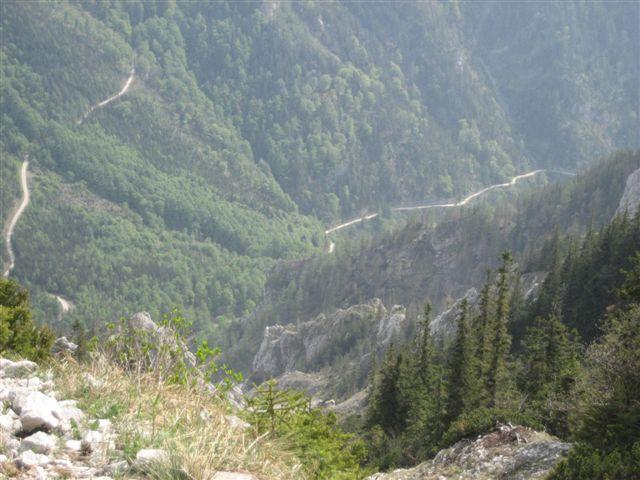Foto: Alpinfreunde / Wandertour / Über den Naturfreundesteig auf den Traunstein / Blick in richtung Mairalm Forststraße, auf der richtung umkehrplatz (Gmunden) zurück gewandert wird / 29.04.2007 20:04:34