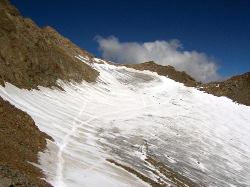 Foto: vince 51 / Wandertour / Von Gries im Sulztal auf den Hohen Seeblaskogel (3235m) / Der Grüne Tatzen Ferner mit Anstiegsspur / 06.05.2007 17:15:55