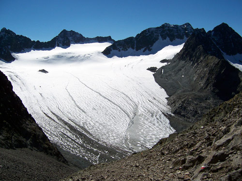 Foto: vince 51 / Wander Tour / Von Gries im Sulztal auf den Hohen Seeblaskogel (3235m) / Der Bachfallenferner / 06.05.2007 17:14:53