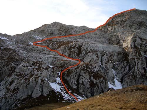 Foto: vince 51 / Wander Tour / Von der Tilisunahütte auf die Scheienfluh (2627m) / Die ungefähre Aufstiegsroute / 17.05.2007 20:33:55