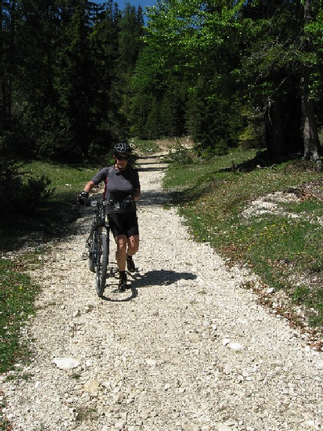 Foto: mucho / Mountainbiketour / Rund um den Unnutz / Abfahrt vom Kögljoch nach Osten; Schieben ist sicherer auch wenn der Weg breit ist. / 20.05.2007 17:58:20