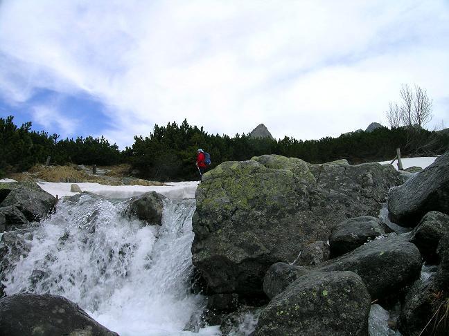 Foto: Andreas Koller / Wandertour / Rysy - Paradeberg der Hohen Tatra (2503 m) / Überquerung von Bächen im Herz der Hohen Tatra / 21.05.2007 18:52:03