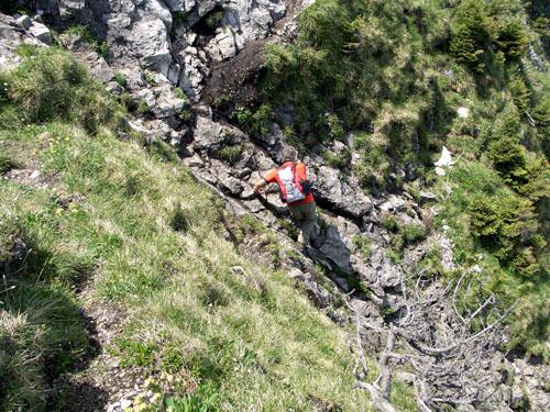 Foto: vince 51 / Wander Tour / Auf den Sorgschrofen (1638m) / Schrofenrinne unterhalb des Gipfels / 03.06.2007 21:27:29
