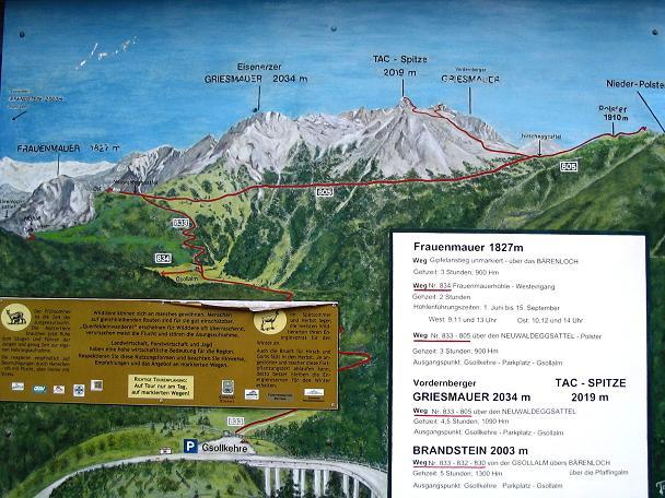 Foto: Andreas Koller / Wander Tour / Über die Gsollhütte auf die TAC-Spitze (2019 m) / Informationstafel bei der Gsoll-Kehre / 07.06.2007 22:53:44