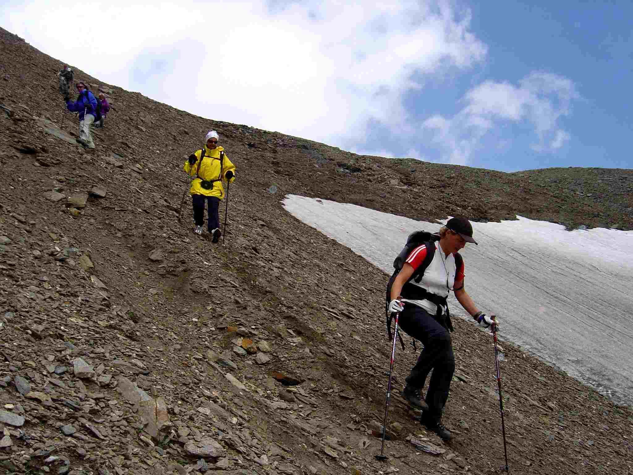 Foto: Manfred Karl / Wander Tour / Über Blumenwiesen auf die Racherin / Relativ steil geht es im oberen Teil der Rinne abwärts. / 17.06.2007 06:23:42