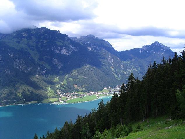 Foto: Andreas Koller / Wander Tour / Stanserjoch und Tunnelsteig (2102m) / Der Achensee mit dem Rofan / 18.06.2007 17:17:00