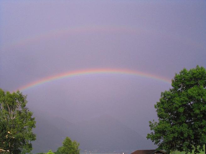 Foto: Andreas Koller / Wander Tour / Stanserjoch und Tunnelsteig (2102m) / Regenbogen und Gewitter über dem Achensee / 18.06.2007 17:23:15