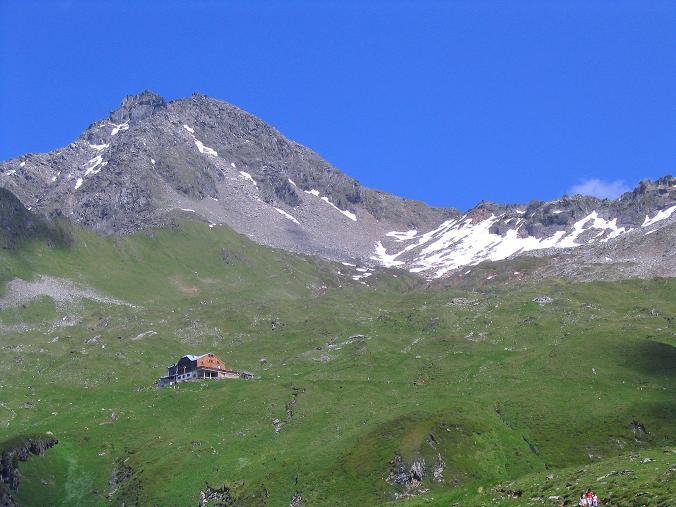 Foto: Andreas Koller / Wander Tour / Ahornspitze und Popbergschneid (2976m) / Edelhütte, Ahornspitze und rechts die Pobergschneid / 18.06.2007 18:16:08