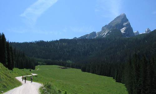 Foto: Lenswork.at / Ch. Streili / Mountainbike Tour / Von Markt Schellenberg zur Kührointhütte (1.420 m) und Archenkanzl (1.346m) / Auffahrt zur Kührointhütte / 25.06.2007 10:32:45