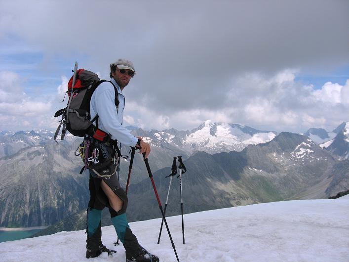 Foto: Andreas Koller / Wandertour / Schrammacher (3411 m) / Von der Oberschrammach Scharte Blick zum Großen Möseler (3480 m) / 03.07.2007 13:35:47