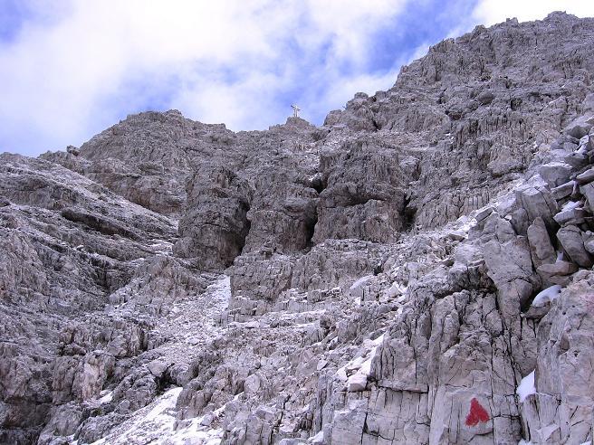 Foto: Andreas Koller / Klettersteig Tour / Rotwand-Klettersteig - Via ferrata Croda Rossa (2939 m) / Der letzte Steilaufschwung zum Gipfelkreuz auf der Rotwand / 10.07.2007 18:45:23