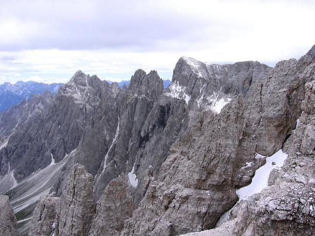 Foto: Andreas Koller / Klettersteig Tour / Rotwand-Klettersteig - Via ferrata Croda Rossa (2939 m) / Der Blick nach O zur Hochbrunnerschneid (3045 m) / 10.07.2007 18:44:45