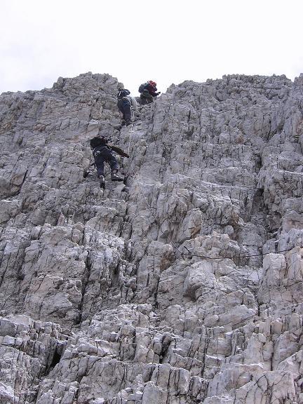 Foto: Andreas Koller / Klettersteig Tour / Rotwand-Klettersteig - Via ferrata Croda Rossa (2939 m) / B-Passage im Abstieg / 10.07.2007 18:43:01