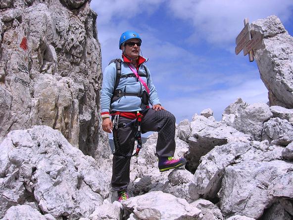 Foto: Andreas Koller / Klettersteig Tour / Rotwand-Klettersteig - Via ferrata Croda Rossa (2939 m) / Rast bei der Abzweigung zum Burgstall / 10.07.2007 18:42:18