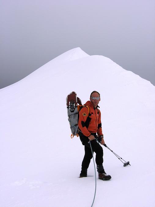 Foto: Andreas Koller / Wander Tour / Über zwei große Keese auf den Romariswandkopf (3511 m) / Im Romariswandsattel gegen den Firngrat der Romariswand / 10.07.2007 22:29:26