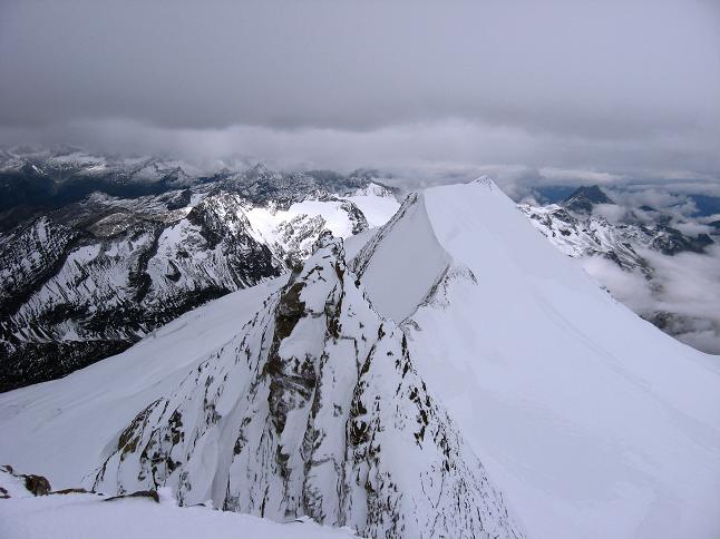 Foto: Andreas Koller / Wander Tour / Über zwei große Keese auf den Romariswandkopf (3511 m) / Blick nach W auf den kleineren Romariswandkopf (3491 m) und den Schneewinkelkopf (3476 m) / 10.07.2007 22:27:36