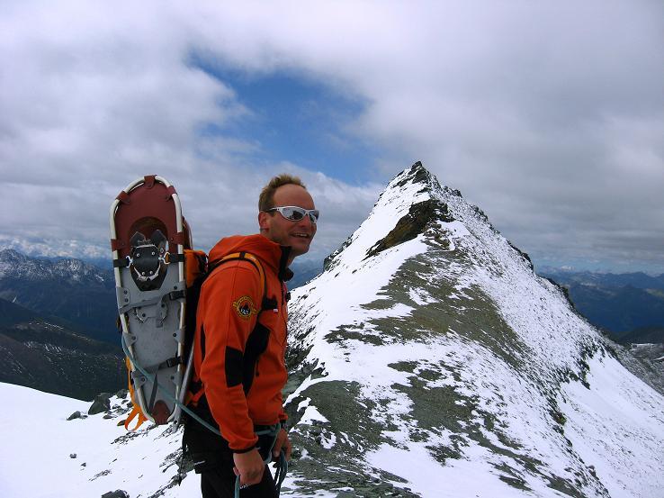 Foto: Andreas Koller / Wander Tour / Über zwei große Keese auf den Romariswandkopf (3511 m) / Im Gramulsattel gegen den spitzen Gipfel des Gramul / 10.07.2007 22:23:33