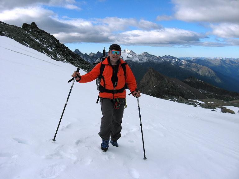 Foto: Andreas Koller / Wander Tour / Über zwei große Keese auf den Romariswandkopf (3511 m) / Auf dem Teischnitzkees gegen die Schobergruppe / 10.07.2007 22:32:42