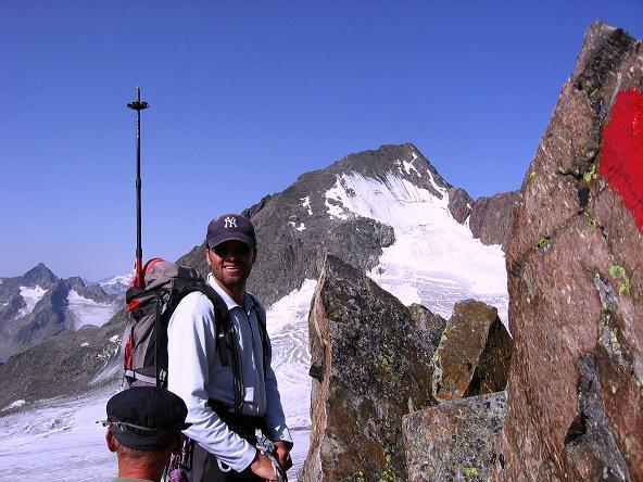 Foto: Andreas Koller / Wander Tour / Von der Franz Senn Hütte in die Wildgratscharte (3170 m) / Wildgratscharte mit Blick auf den Schrankogel (3496 m) / 08.08.2007 13:47:48