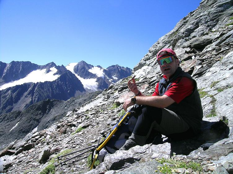 Foto: Andreas Koller / Wander Tour / Über zwei Gletscher auf den Lisenser Fernerkogel (3298 m) / Blick vom Rinnennieder zu den Seespitzen (3416 m) / 08.08.2007 14:17:12