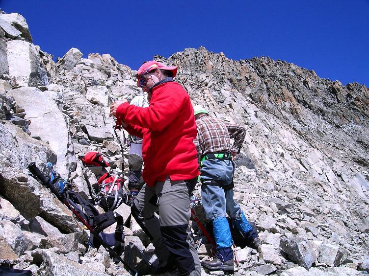 Foto: Andreas Koller / Wander Tour / Über zwei Gletscher auf den Lisenser Fernerkogel (3298 m) / Beim Einstieg zum S-Grat / 08.08.2007 14:13:10
