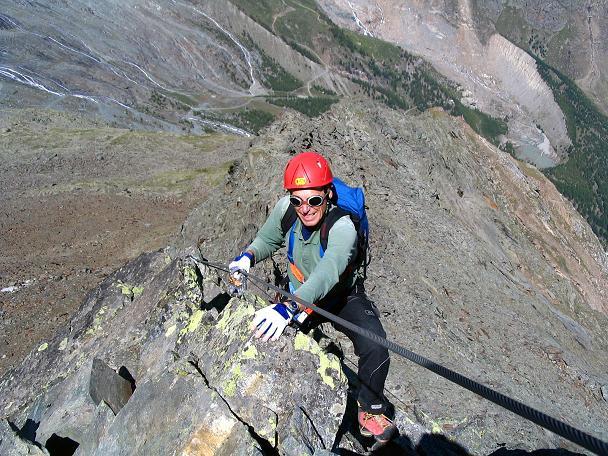 Foto: Andreas Koller / Klettersteig Tour / Klettersteig Mittaghorn (3144m) / Am W-Grat des Mittaghorns / 09.08.2007 10:26:17