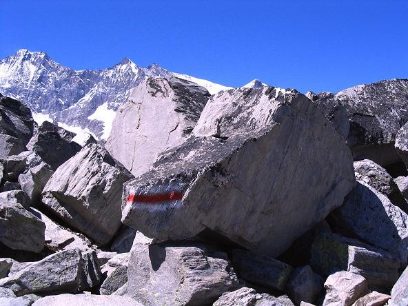 Foto: Andreas Koller / Klettersteig Tour / Klettersteig Mittaghorn (3144m) / Panorama-Höhenweg Britanniahütte - Plattjen mit Dom (4545 m) und Lenzspitze (4291 m) / 09.08.2007 10:06:25