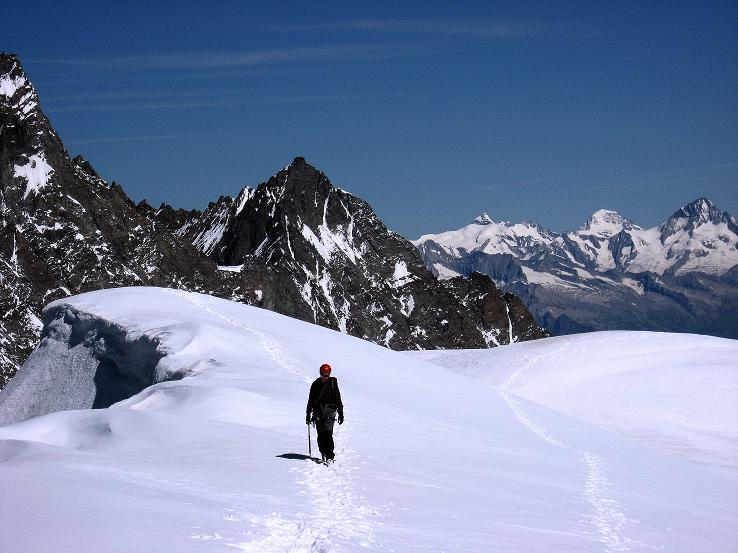 Foto: Andreas Koller / Wander Tour / Alphubel - Überschreitung (4206 m) / Am Alphubelgipfel / 09.08.2007 15:40:36